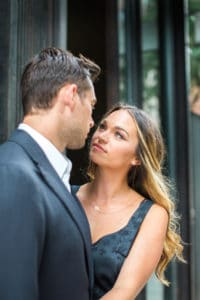 engagement hairstyle with classic waves for engagement photoshoot in Tribeca NY