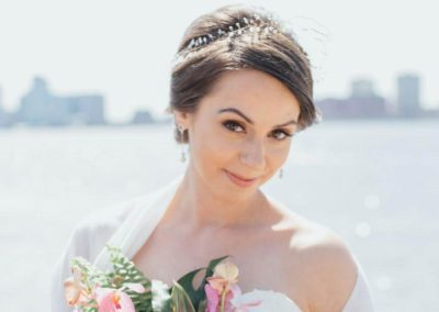 Bridal hairstyle for The big fake wedding at Chelsea Piers NY