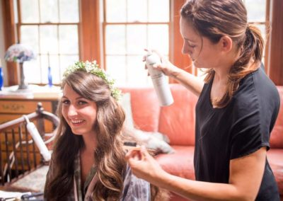 soft waves and flower crown for the bride