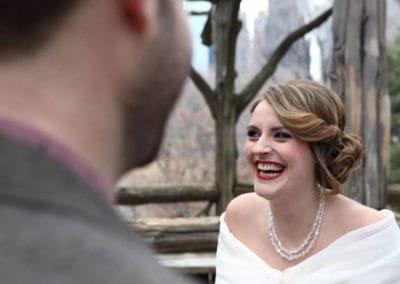 vintage side swept updo for bride and grooms destination wedding in NY