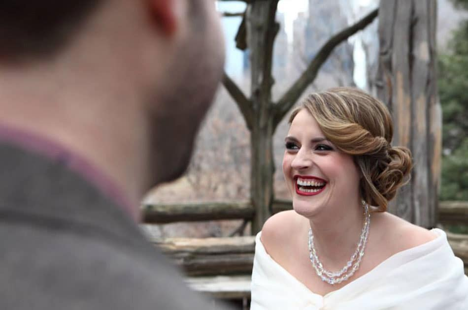 vintage side swept updo for bride and grooms destination wedding in NY