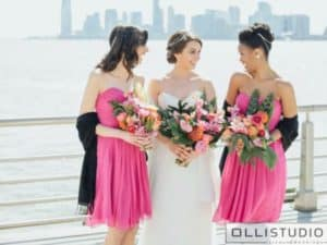 Bridal Party hairstyles at Sunset Terrace at Chelsea Piers in NYC