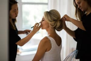 getting ready photos of hair and makeup for NYC wedding
